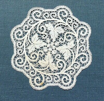 Antique Handmade Cantu  Bobbin Lace Doily  Coaster Grapes