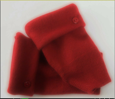 Fingerless Gloves Women's Red 100% Merino Wool Short One Size Fits Most S M L
