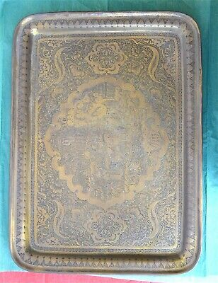 Antique Qajar Persian Islamic Arabic Brass Hand Chased Pictorial Story Tray
