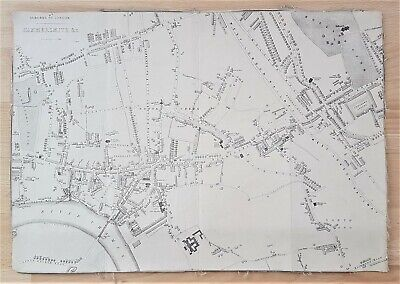 Map Of Hammersmith - London - Linen 1870 - 1880 John Bartholemew - George Newnes