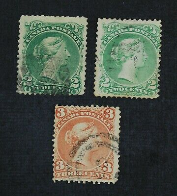 CKStamps: Canada Stamps Collection Scott#24 1Spot Thin, #25 Lightly Crease, Used