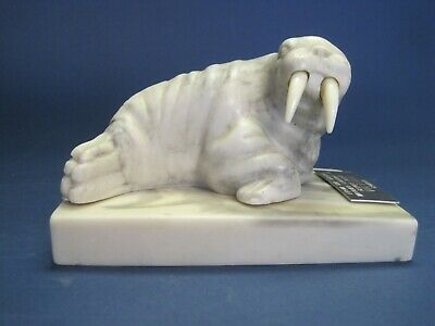 Vintage Carved Walrus w Tusks on Base Glenys Peach Victoria Canada