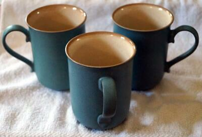 "DENBY Pale Blue/Green Tan inside 3 Mugs 4"" tall Great Condition"