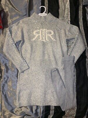 Girls Worn once River Island wool dress diamante 9/10 and FREE grey tights