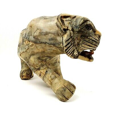 "Vintage Handcrafted Stalking Tiger Figure Statue 10"" Long - Faux Marble Stone"
