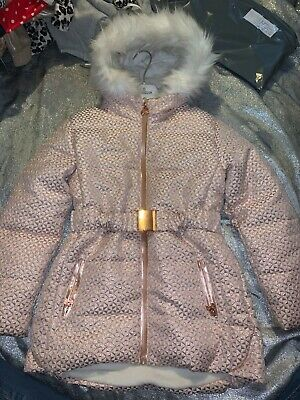 Girls Ted Baker pink rose gold fur hooded jacket coat age 10