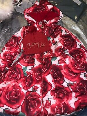 Girls A Dee rose floral hooded jacket coat age 10 and matching diamante hat