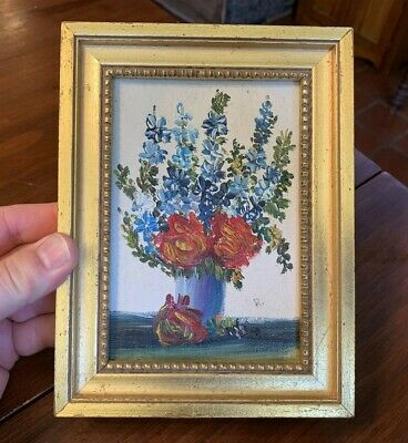 "Small Vintage Floral Oil Painting in Gold Frame Signed ""R."""