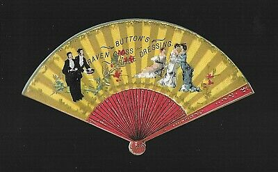Ladies & Gents at the Ball-Colorful VIctorian Diecut Fan Trade Card
