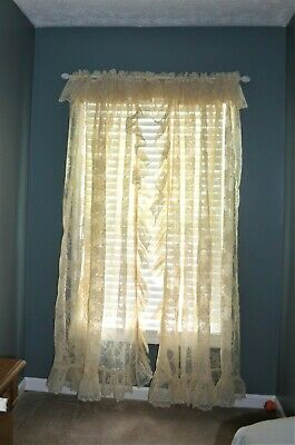 VTG  JcPenny/'s Ruffled Newport Cape Cod Curtain Panel Pair w//Tiebacks Pale Camel