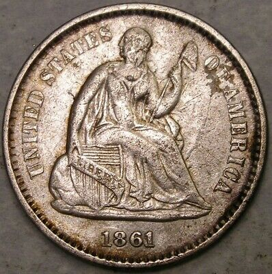 1861/0 Liberty Seated Silver Half Dime Very Scarce Hard To Find Bold Over Date
