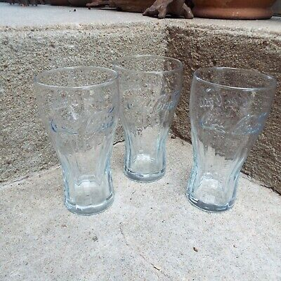 Lot of 3 Vintage McDonald's Coca Cola Clear Glass Glasses Cups (Excellent Cond.)