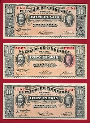 THREE Different MEXICO UNC NOTES: 10 Pesos 1915 Chihuahua  - Series N (P-S535a)