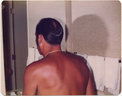 Great shot: rear view of shirtless man in bathroom, 1970s, gay int