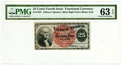 FR1307 - 25 Cent 4th Issue Fractional Currency - Blue End -  PMG 63 EPQ GEM C36