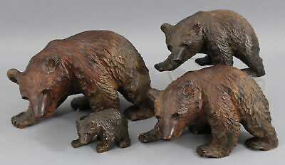 4 Authentic Artist Signed Japanese Carved Wood Higuma Bears Sculptures, NR