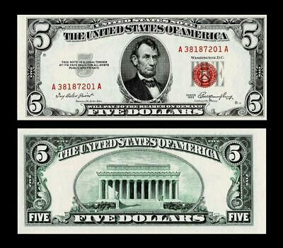 1953 $5 Red Seal United States Note ~~ Uncirculated