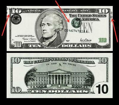 Error 2001 $10 Fr Note  Misalignment Error~ About Uncirculated
