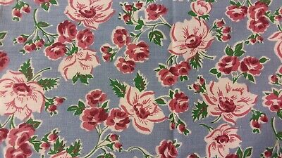 Vintage Blue Feedsack PIECE pink flowers measures 14.5 by 36 inches