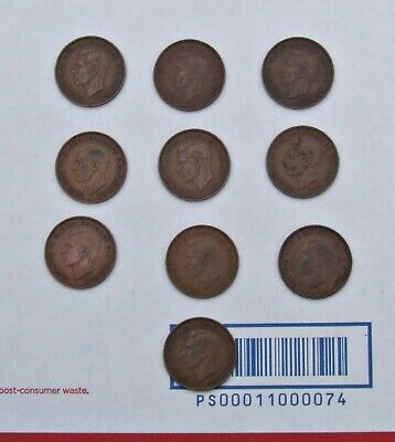 Lot of 10 King George V English Large One Penny Coins of England