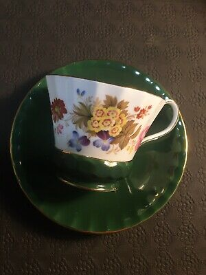 Cute Dark Green Floral Aynsley Tea Cup And Saucer Set