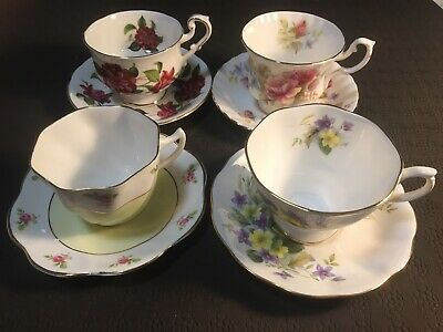 Set Of 4 Vintage English Teacups And Saucers Tea Party Cups