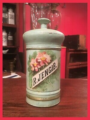 ~BEAUTIFUL~ HANDPAINTED Apothecary Crude Drug Storage Tin    ~LOOK~