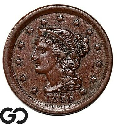 1855 Large Cent, Braided Hair, Upright 5's, Choice AU Early Collector Copper