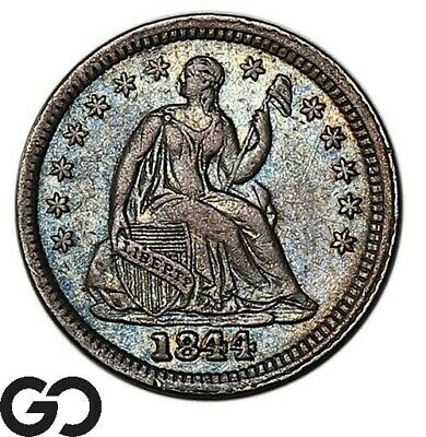 1844 Seated Liberty Half Dime, Scarce Early Silver Type