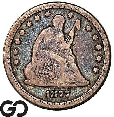 1877-CC Seated Liberty Quarter, Better Date Carson City Issue