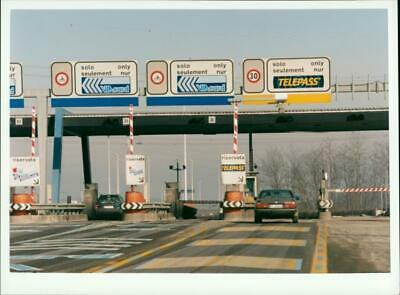 Toll gate on the highway in Italy - Vintage Photograph
