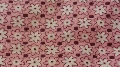 Vintage Feedsack Piece Pink with Little White Flowes measures 37 by 36 inch