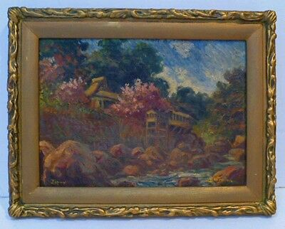 Japan Early Impressionist Landscape Oil Painting - Signed