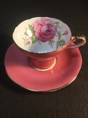 Aynsley Pink Cabbage Rose Corset Shaped Tea Cup And Saucer Set