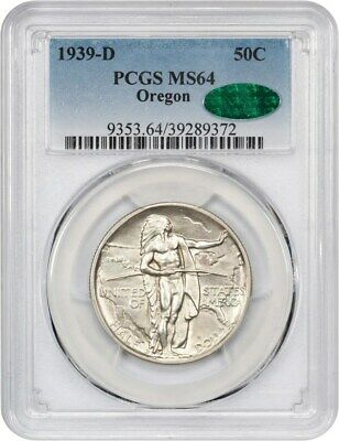 1939-D Oregon 50c PCGS/CAC MS64 - Low Mintage Issue - Low Mintage Issue