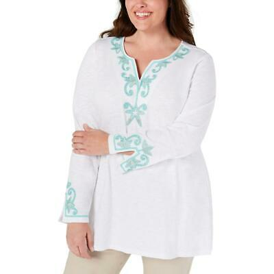 Charter Club Womens White Embroidered Beaded Tunic Top Shirt Plus 1X BHFO 8717