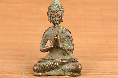 chinese old bronze hand carved tibet buddha blessing statue figure