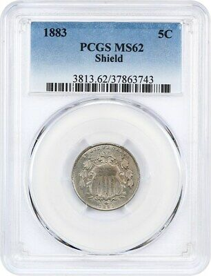 1883 Shield 5c PCGS MS62 - Great Type Coin - Shield Nickel - Great Type Coin