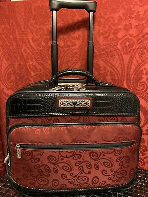 BRIGHTON Rolling Wheeled SUITCASE Ruby Red & Black Leather BRIEFCASE Carry On