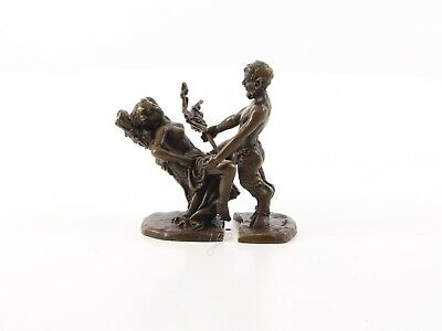 A Pair Of Erotic Bronzes Of A Satyr With Woman Sculpture See My Other Items