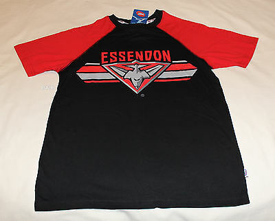 Essendon Bombers Logo AFL Boys Black Red Printed T Shirt Size 8 New