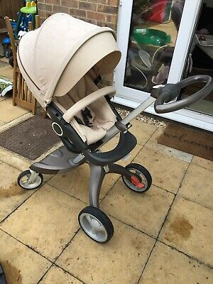 Stokke Xplory Beige Standard Single Seat Stroller With Change Bag & Cosy Toes