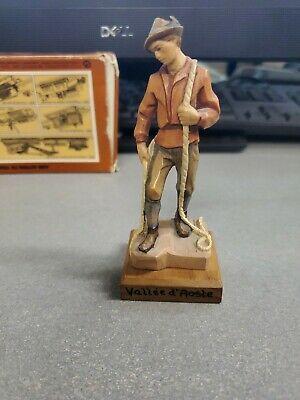 VINTAGE Carved Wooden Figure Italian ROCK CLIMBER ???