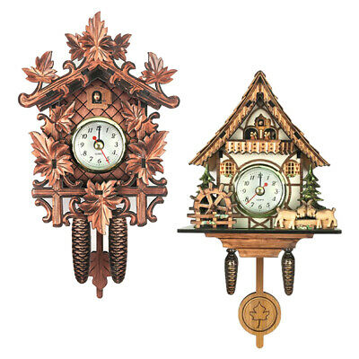 Blesiya 2pcs Antique Style Wooden Frame Cuckoo Clock Wall Clock Decorative