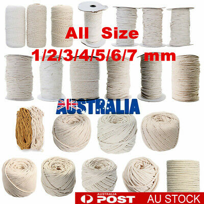 1/2/3/4/5/6mm Macrame Rope Natural Beige Cotton Twisted Cord Artisans Hand