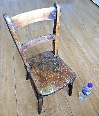 Charming original old antique age worn small Victorian child's elm chair