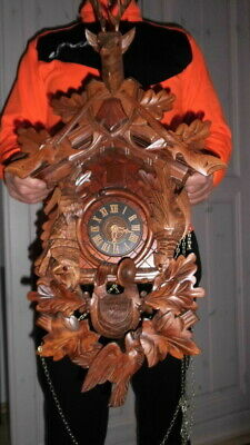 xl vintage original black forest  cuckoo clock all in wood hand carved 8 day