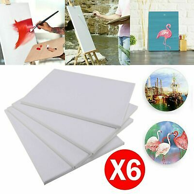 6 Pack 30 X 40Cm Blank Plain Stretched Painting Art Acrylic Canvas White New