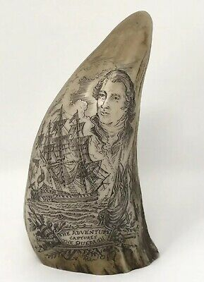 "5"" Whale's Tooth Scrimshaw ""The Adventure Captures The Quedagh"", Repro?"