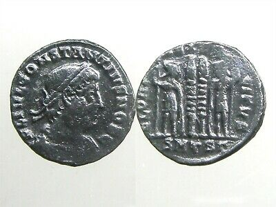 CONSTANTIUS II BRONZE AE3___Son of Constantine the Great__SOLDIERS & STANDARDS